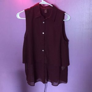 Forever 21 collared layered button top(Maroon)